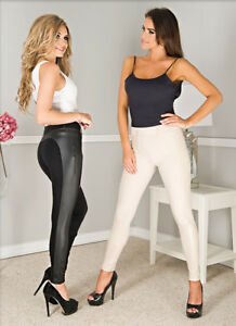 Women-High-Waist-Black-Leather-Look-Jeans-Trousers-By-Paulo-Connerti-034-Catrina-034