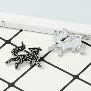 Details about Skeleton Fox Enamel pin Cartoon Animal White Black Fox  Brooches Badge Lapel Pin