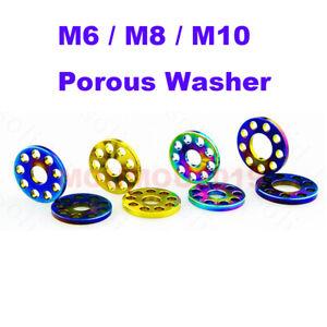 5pcs//lot Titanium Bolts Screws Washer M6 M8 M10 Porous Drilled Spacer Ti Washers