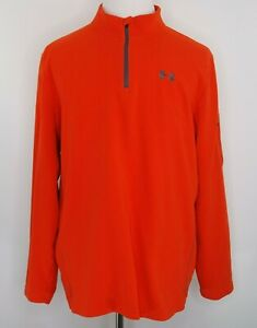 Under-Armour-Mens-Size-XL-Orange-1-4-Zip-Fleece-Pullover-Arm-Zip-Pocket-EUC