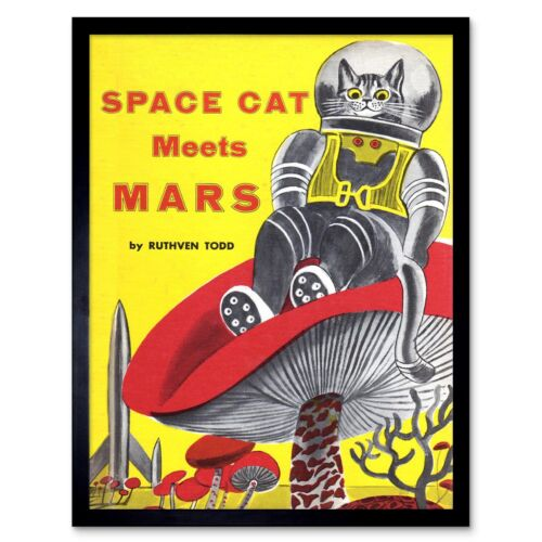 Copertina Space Cat Soddisfa Mars Ruthven Todd Rocket Fungo Uk Framed Print