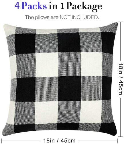 Square Pillow Case 18 X 18 inch,Black /& White Plaid Decorative Cushion,4 Pack