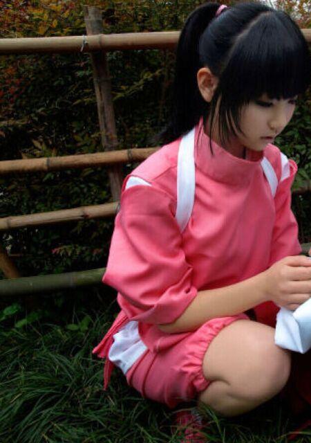 Miyazaki Hayao Spirited Away Chihiro Ogino Sen cosplay costume + Free track