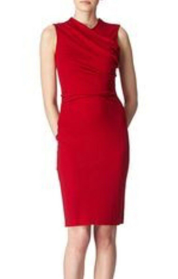 JOSEPH  Designer Ava Red Stretchy Wool Dress Sheath Wrap Front S.40