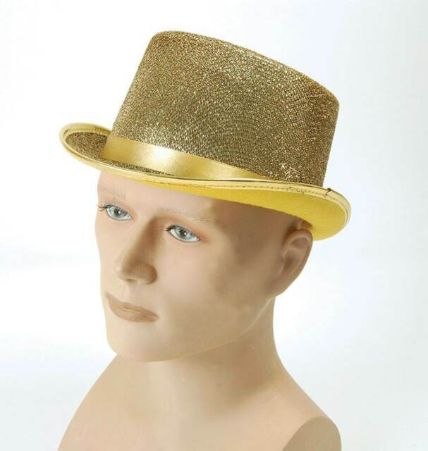 Adult Gold Glitter Lurex Top Hat Tap Dancing Fancy Dress Costume ... bddf32a4b69e