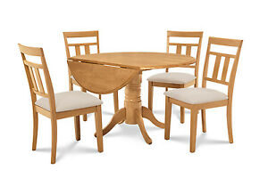 42 Round Dinette Kitchen Dining Room Table Set With 9 Leaf In Oak