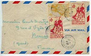 Air Mail / Par Avion / Lettre Cote D'ivoire Abidjan Pour Nimes 1946