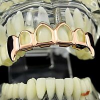 14k Rose Gold Plated Vampire Grillz 4 Four Open Face Teeth Upper Top Fang Grills