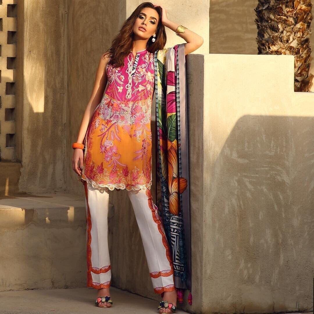 Faraz Manan Lawn Stitched Suit With Silk Dupatta Sapphire Sana Safinaz Elan
