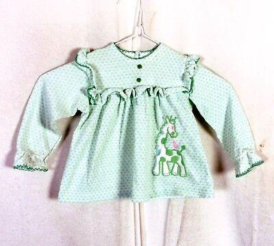 FäHig Vtg Carter's Hellgrün Weiß Ls Baby Kleinkind Kleid Bestickt Baby 18 Mos