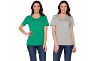 Quacker Factory Set Of Two Stars & Studs Short Sleeve T-shirts Green/grey Xxs J