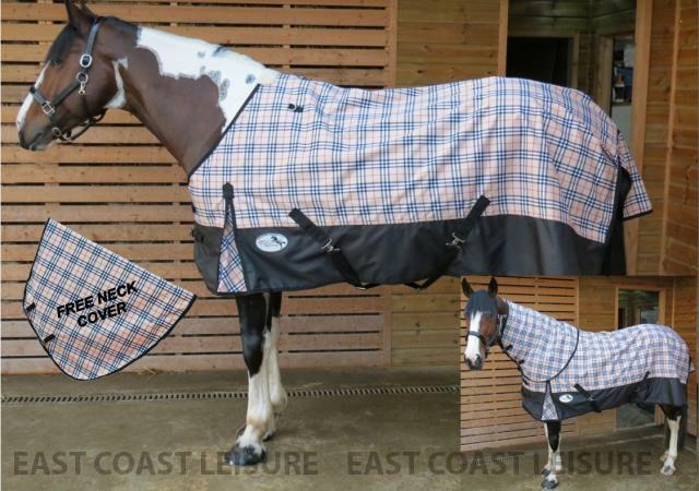 LIGHTWEIGHT TURNOUT HORSE & PONY RUG FREE DETACHABLE NECK NO FILLING