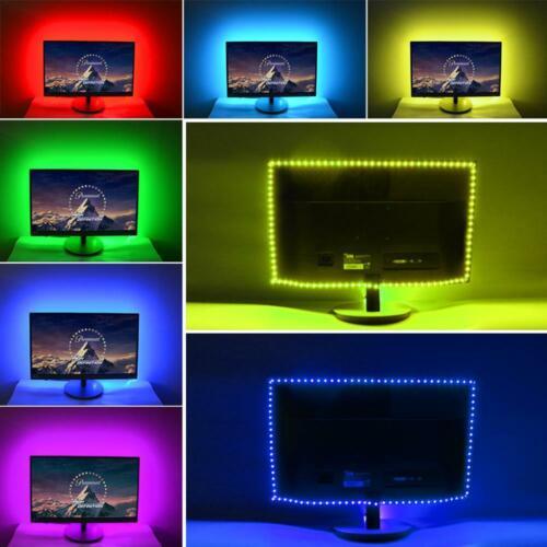 2M 60-LED Strip Lights SMD5050 RGB Tape Lighting for Rooms TV Backlights USB 5V