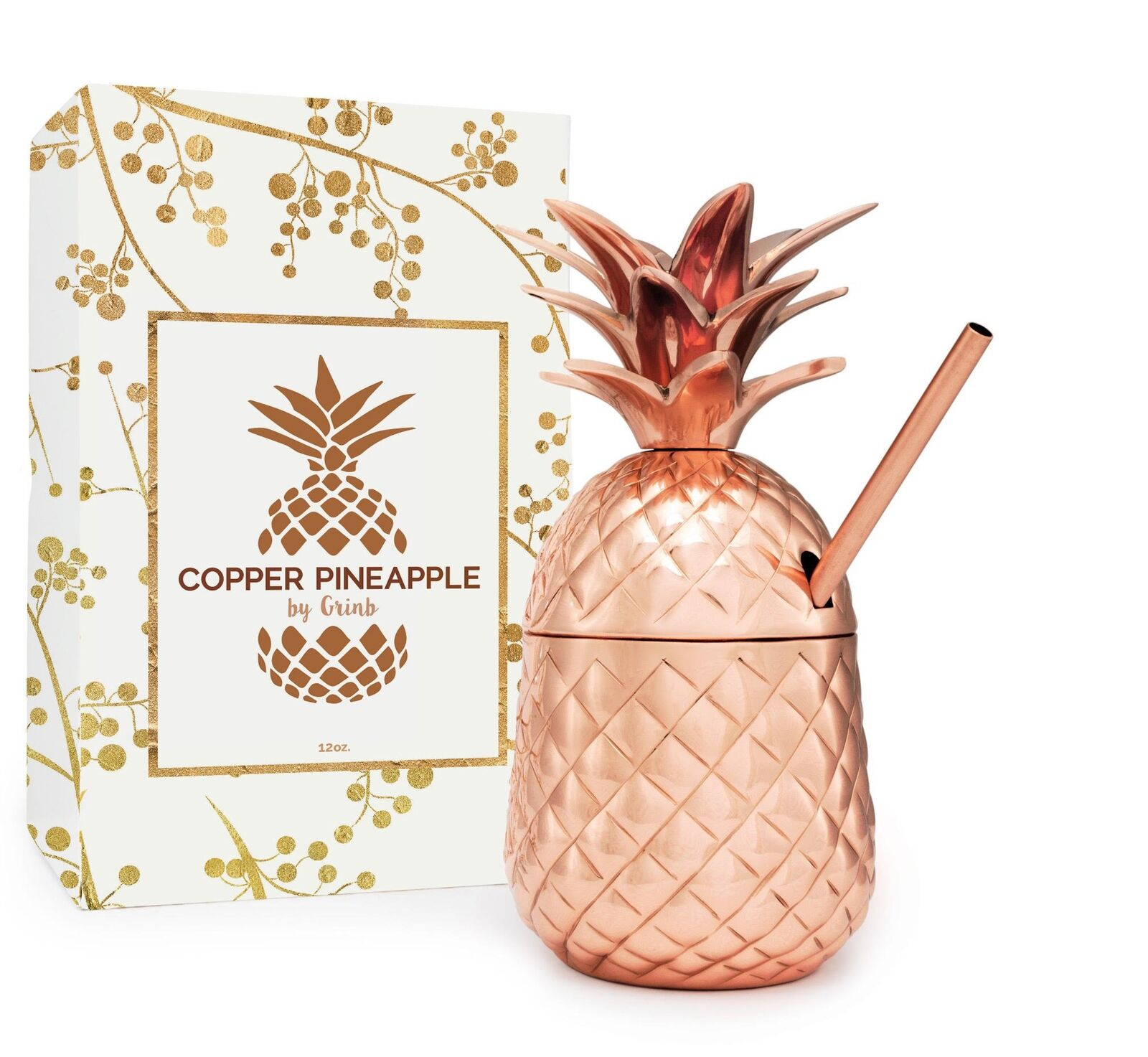 Solid Copper Pineapple Tumbler   Mug with Copper Straw- Available in 3 Sizes