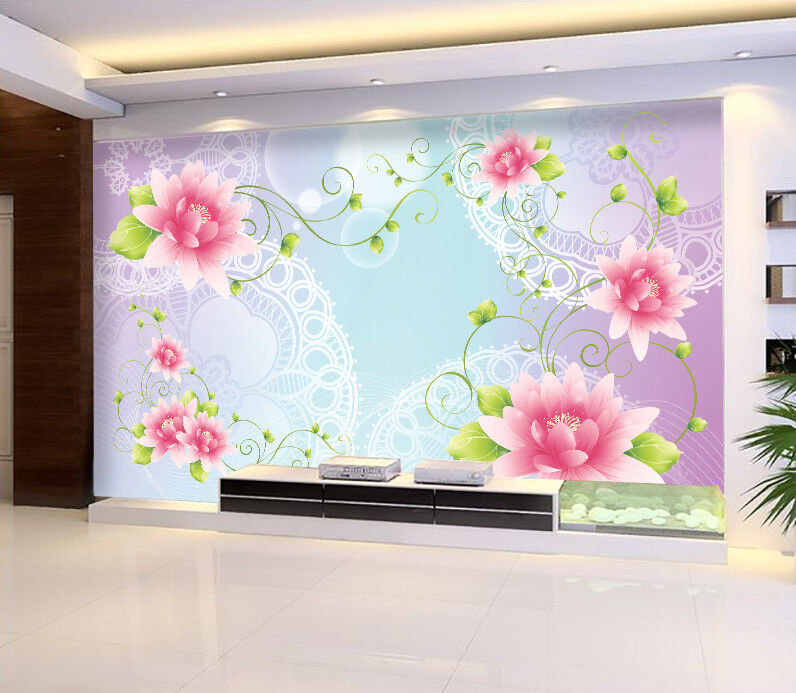 3D Blaumen Blätter Muster 7903 Tapete Tapete Tapete Wandgemälde Tapeten Bild Familie DE Jenny | Ab dem neuesten Modell  | Exquisite (in) Verarbeitung  |  270eed