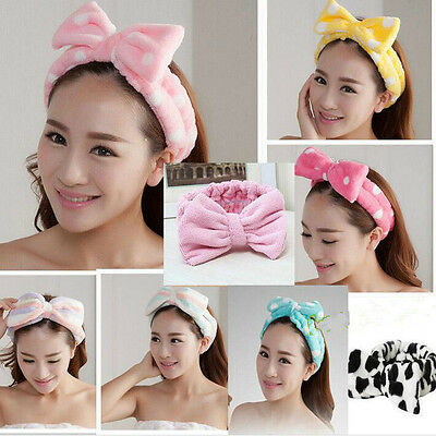 Big Bow Dot Striped Soft Towel Hair Band Head Wrap Headband Bath Spa Make Up