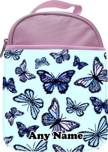 Personnalisé Papillons En Bleu Enfants École Isolé Lunchbox Boîte Cadeau
