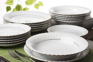 Tafelservice-Porzellan-18tlg-Essservice-Geschirr-6-Personen-mit-Gold-Tellern