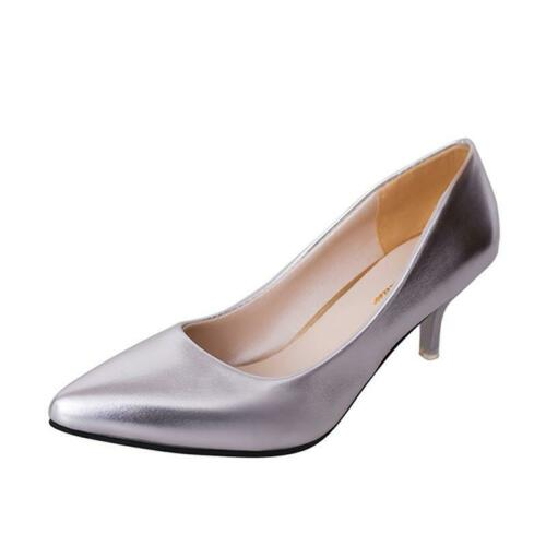 Fashion Womens Low Mid Kitten Heels Office PU Leather Pointed Toe Pumps Shoes H