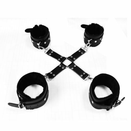 Leather Hands Legs Plush  Strap Black//Red L020