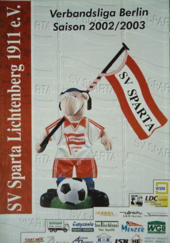Programm 2002/03 SV Sparta Lichtenberg TSV Rudow Fanmagazine & Programmhefte