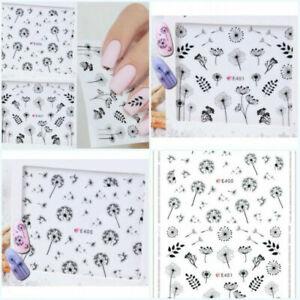 Nail-Art-Water-Transfers-Decals-Stickers-Black-Dandelions-Floral-Gel-Polish