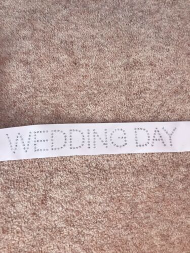 WEDDING DAY RIBBON 40mm wide White With Silver Letters Wedding Decoration