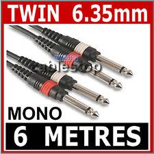 "6M Twin MONO 1/4 Inch Jack to Jack 6.35 CABLE 6.35mm 2 x MONO PLUGS LEAD UK 1/4"""