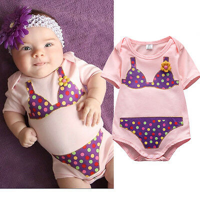 Cute Newborn Baby Girls Flower Dot Romper Jumpsuit Body Suit Clothes Outfits