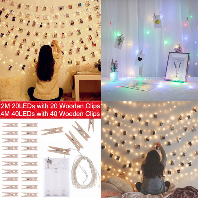 LED Photo Peg Clips Fairy Lights Parties Room Decoration 2M Battery 20 White