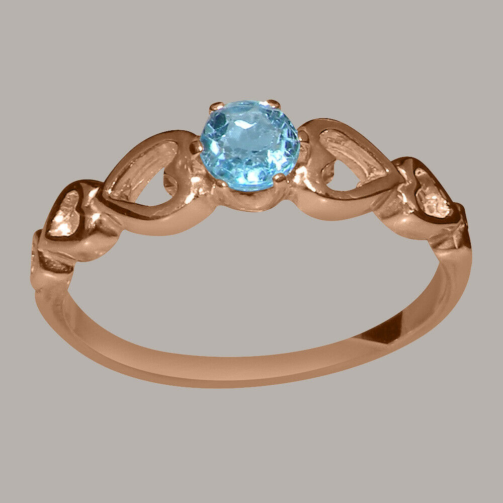 Solid 10k pink gold Natural bluee Topaz Womens Solitaire Ring - Sizes 4 to 12