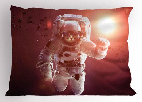 Space Cat Pillow Sham Decorative Pillowcase 3 Sizes Bedroom Decor