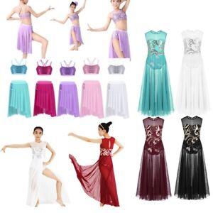 a0ddb4d3f Kids Girl Sequin Lyrical Dance Dress Ballet Latin Mesh Modern ...