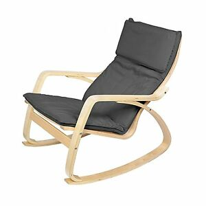 Image Is Loading Grey Lounge Rocking Chair Comfortable Relaxing Armchair Living