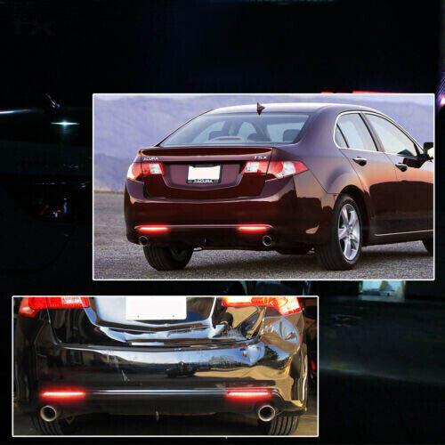 For 2009-2014 Acura TSX Rear Bumper Reflectors light Brake Tail Lights Red Lens
