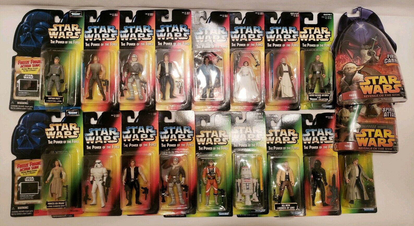 LOT 19 Star Wars 3 3 4  Figures Power of the Force POTF Green Red card MOC NEW