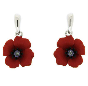 Beautiful-Silver-amp-Red-Rhinestones-Poppy-Flower-Symbolic-Drop-Earrings-E872