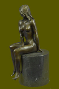 Genuine-Bronze-Sculpture-Signed-Real-Milo-Erotic-Nude-Naked-Female-Statues-Decor