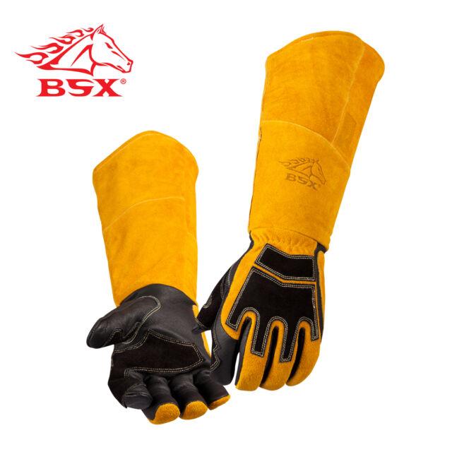 BSX® Premium Grain Pigskin/Cowhide Back Long Cuff Stick Welding Glove Size XL
