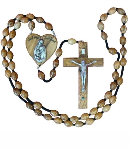 Hand Crafted Olive Wood Wall Rosary with Holy Land Stone.