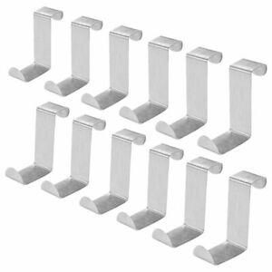 Confezione-da-12-ganci-sopra-porta-in-acciaio-inox-Appendiabiti-su-ganci-ar-I2S6