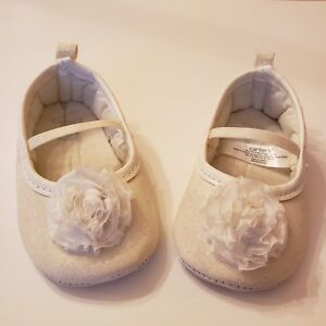 bb9de145d907 Carters Crib Shoes Baby 1st Shoes Walking Shoes White Glitter | eBay