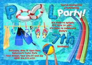Pool Party Invitation Swimming Birthday Invite Splash Party Ebay