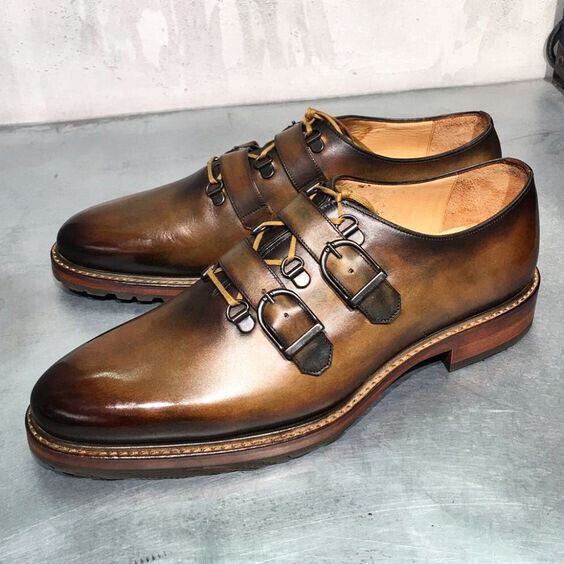 Men's Handmade Genuine Brown Shaded Leather Double Monk Straps One Piece shoes