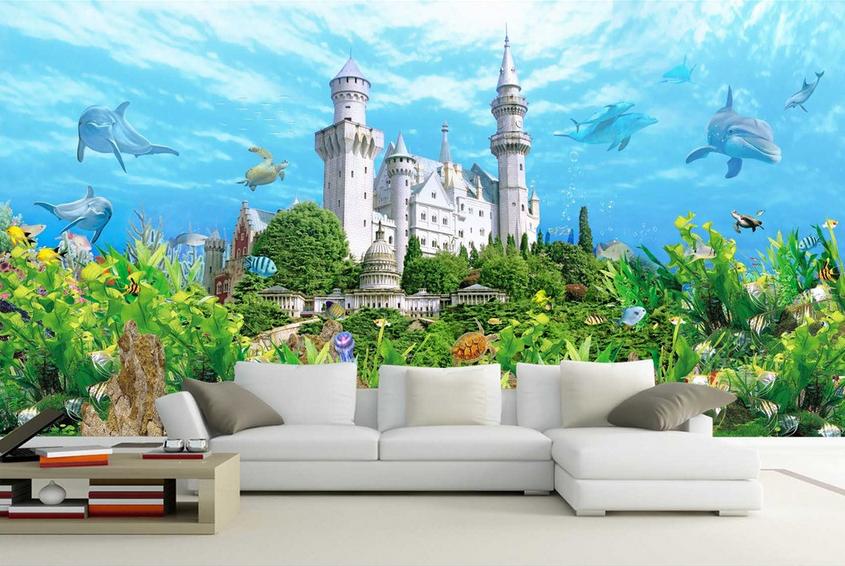 3D Dolphin Blau Castle 1101 Paper Wall Print Wall Decal Wall Deco Indoor Murals