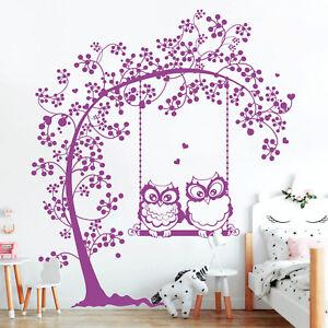 Wandtattoo Zwei Eulen Baum Schaukel Wandaufkleber Owl Eule Uhu