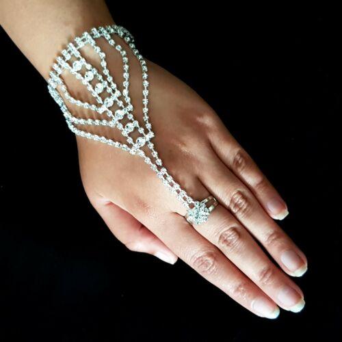 Bollywood novia joyas mano joyas anillo sklavenarmband pedrería boda de plata