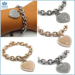 Bracciali da donna in acciaio inox a catena cuore scritta braccialetto incisione