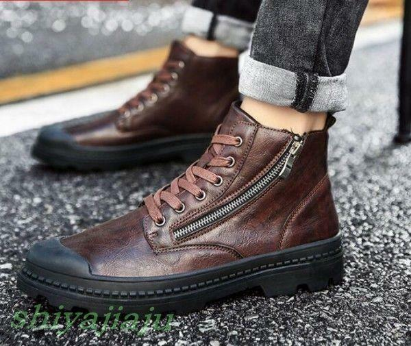 Mens Side Zip Lace Up Punk Retro Ankle Boots Youth Casual High Top Chukka shoes