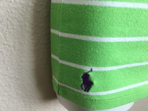 New Polo Ralph Lauren S  Scoop Neck Shirt Women/'s Green//White Logo S//S Stripe